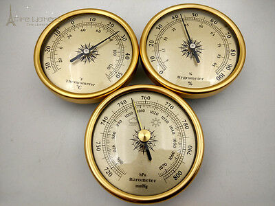 NEW set of 3 By 70mm Diameter Barometer hygrometer thermometer gold or silver