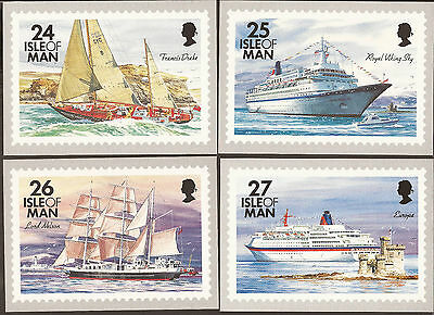 Isle of man (unused) Ships Postcards x 4.  Sailing ships, cruise liners