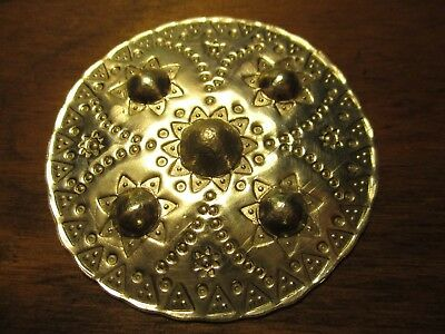Viking Anglo Saxon style disk pure solid 999 silver for broach pin or necklace