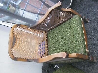 Antique chair, cane back with upholstered seat and back