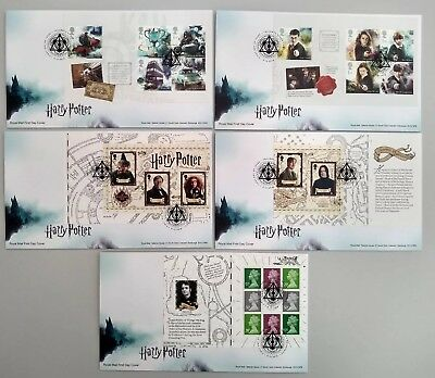 2018 Harry Potter Prestige Book Panes Set of 5 Royal Mail FDC Tallents House pmk