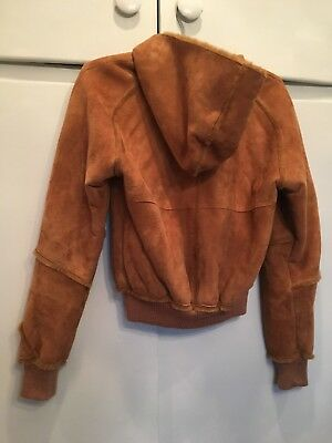 Ugg Women s Suede Hooded Brown Leather Lined Jacket - Size Xs ad4645eb8