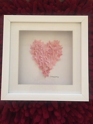 26 CM Square 3D Art Framed Decoupage Butterfly Heart Shaped Picture Daisy Maison