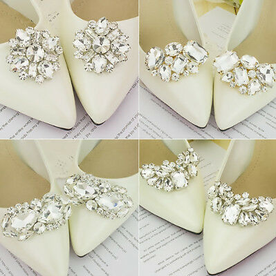 2 pcs/ Pair Rhinestone Crystal Shoe Clip Lady Wedding Boots Charm Jewelry Decor