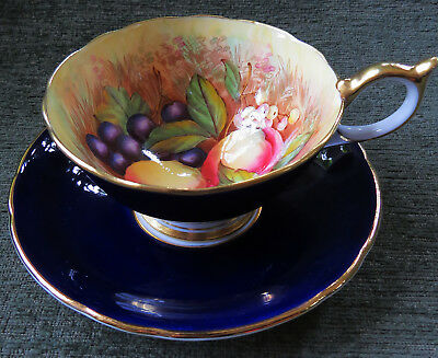 Vtg. Aynsley Bone China Hand Painted Orchard Peach Teacup Cup & Saucer D Jones