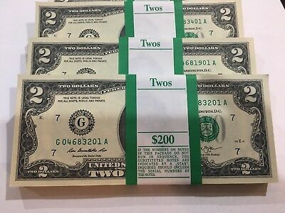 25 LUCKY Uncirculated Sequential Two Dollar Bills Crisp $2 Note Lot 1976 - 2013