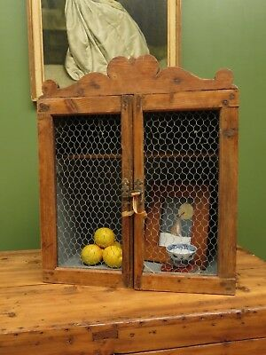 Small Antique Meat Safe Kitchen Cabinet with Wire Doors, Primitve Crate Cabinet