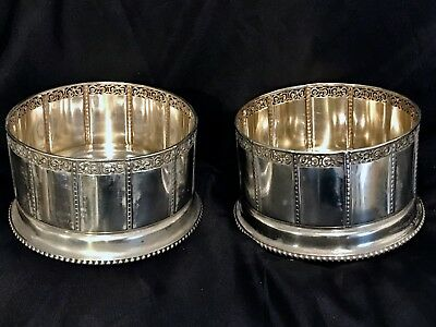 Pair Art Deco 800 Silver Wine Coasters Made For Large Bottles Marked Rare.