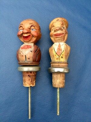 2 Anri vintage black forest carved wooden cork bottle stopper pourer, 1940s