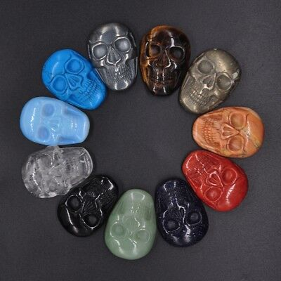 1.37 Inch (35mm) Pretty Hand-Carved Gemstone Skull Cab Cabochon