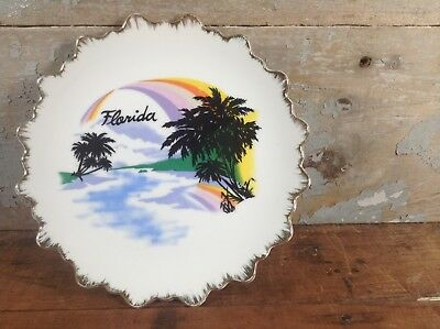 Vintage Collectable State of Florida Souvenir Plate Wall Decor Rainbow Palm Tree