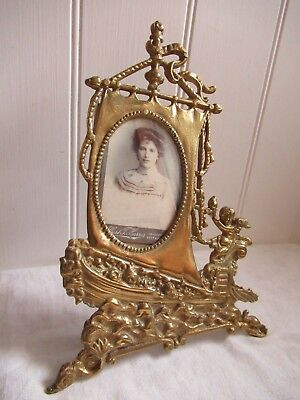 Unusual Antique / Vintage Solid Brass Ship Theme Photo Frame.