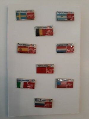 Lot De 9 Pins Coca Cola - Coupe Du Monde De Football Usa 1994