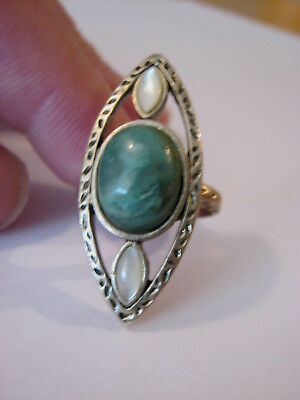 KCR marquise shaped silver vintage ring, faux opal & turquoise stones, size 7