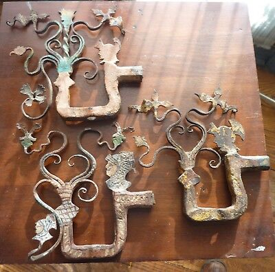 3 Antique hand wrought iron decorative gate embellishments early work