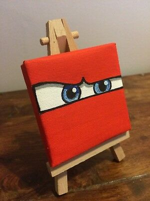 Hand Painted Disney Cars LIGHTNING MCQUEEN Mini Canvas And Easel 7cm x 7cm