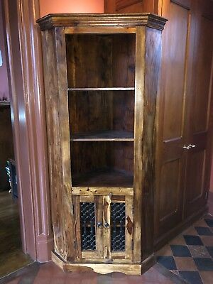 Antique Style Wood and Iron Corner Cupboard