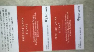 2 John Lewis Hot Drink Coffee and Cake Vouchers FREEPOST