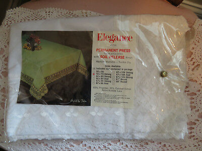 Elegance #5700 Permanent Press Tablecloth White Lace 50 X 70 Oblong New