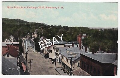 DB Postcard Birds Eye View Main Street Penacook New Hampshire  posted