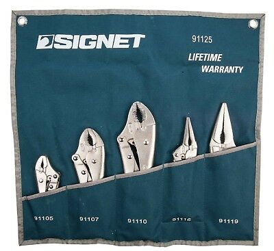Signet Professional 5 Piece Locking Pliers Set in a Fabric Tool Pouch S91125