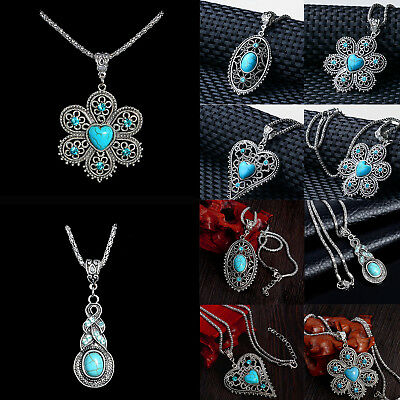 Vintage Women's Tibetan Silver Turquoise Beads String Pendant Chain Necklace