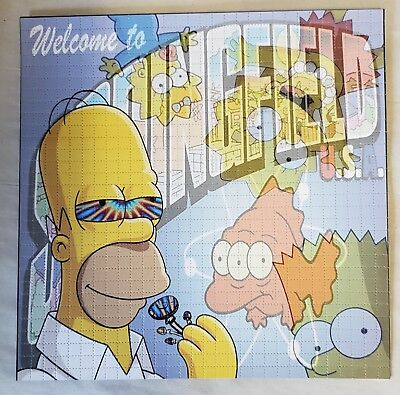 Welcome to Springfield blotter art Simpsons psychedelic art print double sided