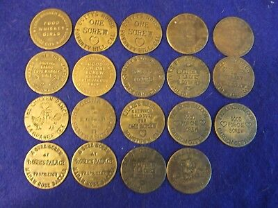 "19 Piece Lot of Whore House / Brothel  / Cat House tokens ~  1 1/2"" diameter ea."