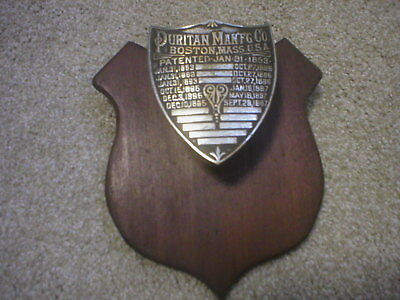 Puritan Manufacturing Boston Mass Jan 31 1893-Sep 28 1897 Award Plaque Leather S