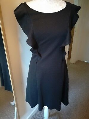 Ladies Black Sleeveless Front Frill Ponte Dress Size 10 V By Very Autumn Winter