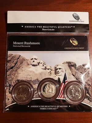 2013 America the Beautiful Mount Rushmore National Memorial 3 Coin Set