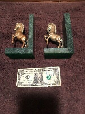 Art Deco Style Cast Brass Horse Bookends On Marble Vg Antique Condition Bronze