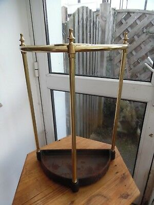 Antique Cast Iron And Brass Oval Stick Stand
