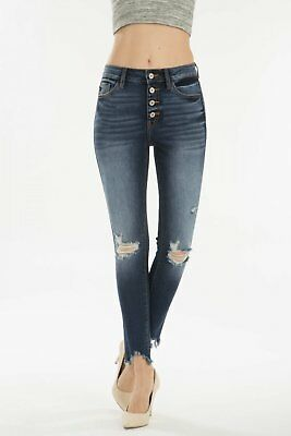 Kan Can 7467 NEW Womens Junior High Rise Distressed Button Fly Ankle Skinny Jean
