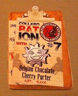 Beer pump clip front RAT & SHINY brewery BELGIAN CHOCOLATE CHERRY PORTER ale