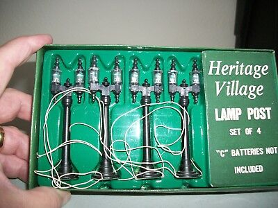 Heritage Village Lamp posts set of 4.  Battery Operated. In Box