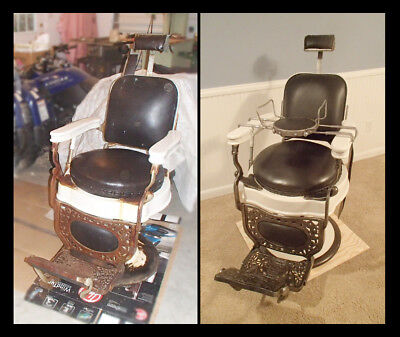 Beautiful Antique Theo-A-Kochs Barber Chair 1920-30's restored and working