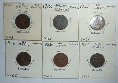 Great Britain Coin Lot! 6 Farthings - 1910-1934- Great Group - (B104)
