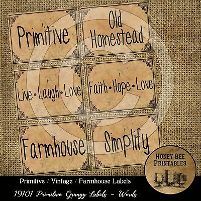 Primitive Pantry Labels 19101 Simplify Old Homestead Live Laugh Love Hope Faith