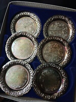 Silver Plated Queen Anne Tableware Set Of 6 Vintage Coasters Boxed