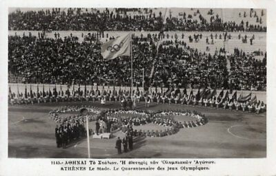 1896 Olympic Games 40th Anniversary Stadium 1936 Flag Rings Athens Olympische