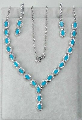 AAA Quality Sterling 925 Silver Jewelry Sleeping Beauty Turquoise / Necklace Set