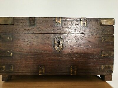 Characterful Asian Indian Antique Wood Chest Campaign Brass Trim 19th century