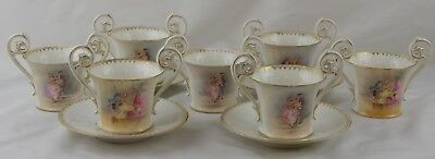 T&V Limoges 8 Two Handled Chocolate Cups 4 Saucers Double Gold Courting Couples