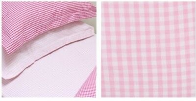 Babyface pink gingham cot/ cot bed fitted mattress covers x2