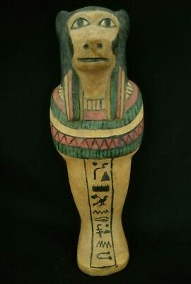 Ancient Egyptian wooden ushabti habi son if horus Hieroglyphics bc