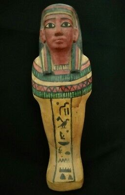 Ancient Egyptian wooden ushabti Hieroglyphics bc