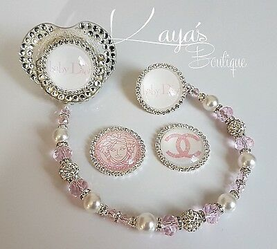 Bling *Diamante Button* Shamballa Romany Dummy Clip Girl *Any Name* Pink/white