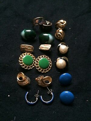 Vintage Costume Jewellery Job Lot 9 Items,9 Pairs Of Earings,mixed Tone,wearable