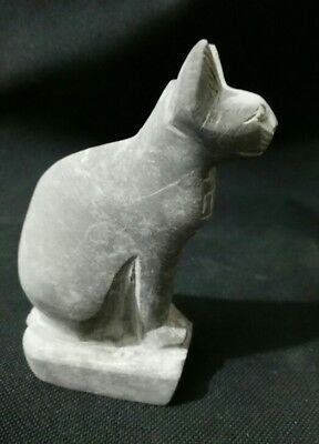 antique Egyptian cat bastet statue from bazalt stone